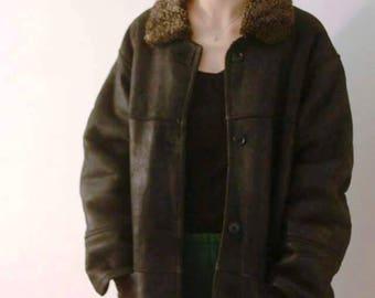 Vintage black original shearling lammy coat sheepskin lambswool coat 90s