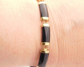 Black Onyx Bracelet 10K Yellow Gold 7 Inch