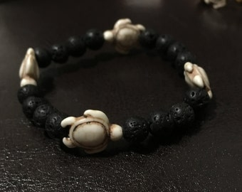 Lava Rock Bead Turtle Bracelet
