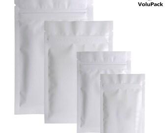 Different Sizes 100pcs Heat Sealing Aluminum Foil Plastic Package Bag Flat Double-Sided Matte White Mylar Zip Lock Bags