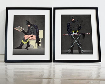 Batman on the Toilet and and Ironing Bathroom Restroom Poster Wall Art Hanging Print Home Décor Superhero