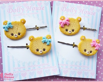 Cookie Bear Hairpins by Dolly House