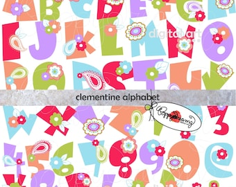 Clementine Alphabet: Clip Art Pack (300 dpi transparent png) Card Making Digital Scrapbook Letters Numbers Pink Purple Blue Green