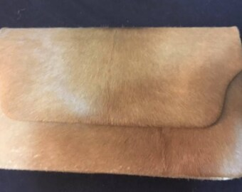Vintage Deer Hide Clutch. 1960's.  Mexican Leather Interior. Snap Closure. Interior Slots.