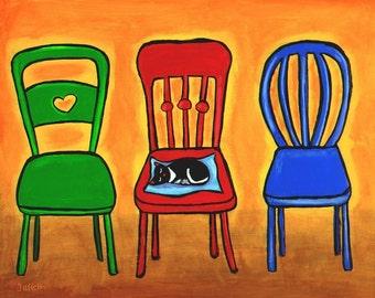 3 Chairs and a Cat - Print Shelagh Duffett
