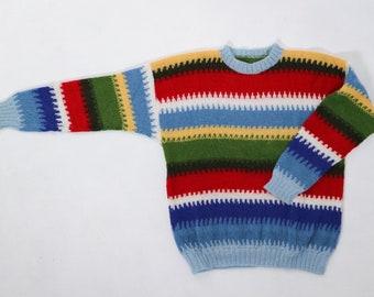 Wool sweater, vintage wool sweater, striped sweater, handmade sweater, rainbow sweater