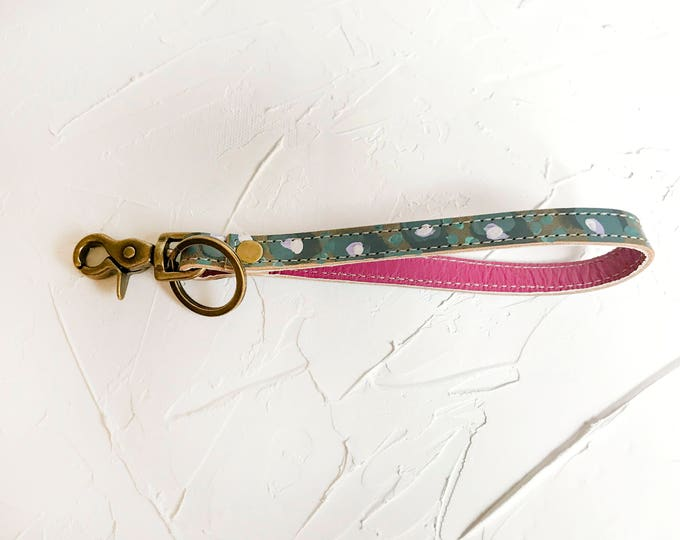 OOAK Hand painted leather key fob #1