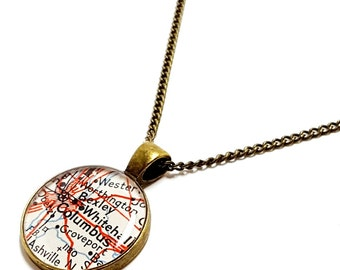 Columbus Map Necklace. Columbus Necklace. Made With A Real 1959 Vintage Map. Ready To Ship. Ohio Map Pendant Necklace. OSU Gifts For Her.