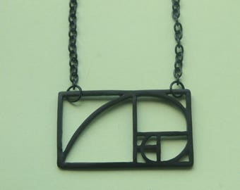Fibonacci Sequence Necklace || Black fibonacci necklace, golden ratio, geometric, art necklace, science necklace, maths necklace