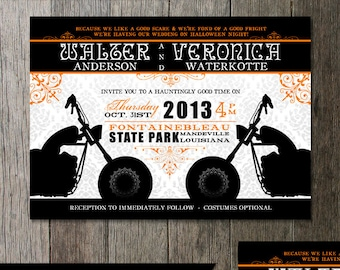 Biker Motorcycle Wedding Invitation Fancy flourishes with a touch of rockin style! Digital Printable