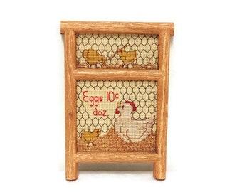 Vintage Needlepoint Wall Art, Eggs 10 Cents Dozen, Chickens & Chicks, Needlework Country Farmhouse Decor