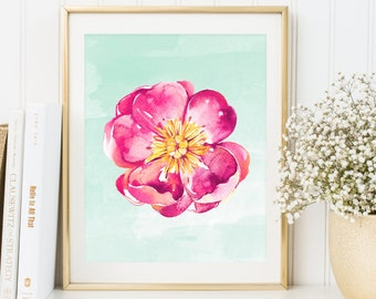 Watercolor Flowers Print, Poster, Flowers, Decor, Home Wall Art Print, Printable, Room Kitchen Home Decor