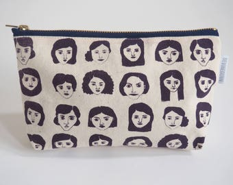 Large Zippy Pouch - Make Up Bag - Pencil Case - Feminist - Aubergine - Screen Printed - Hand Made
