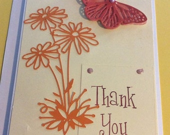 25%offJuneSale Thank You handmade greeting card handmade thankyou card with orange butterfly and daisies