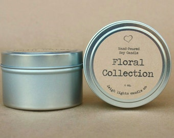 6 oz. Travel Tin | Floral Collection | Soy Candle | CHOOSE YOUR SCENT