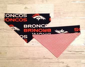 Denver Broncos Over Collar Dog Bandana, NFL Pet Scarf, Reversible