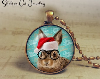 "Christmas Bunny with Glasses Necklace - 1-1/4"" Circle Pendant or Key Ring - Seasons Greetings - Christmas Present or Holiday Gift"