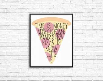 "Parks and Recreation Inspired April Ludgate 8x10 Printable ""Time is Money Money is Power Power is Pizza Pizza is Knowledge"""