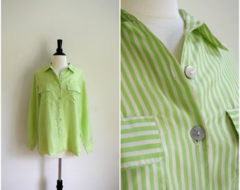 Vintage lime green and white silk button up blouse / lightweight collared shirt / vertical stripe