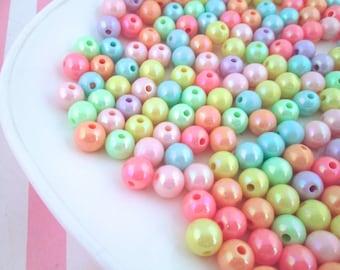 100 Pastel Iridescent Round Beads Fairy Kei Beads 8mm Beads J92