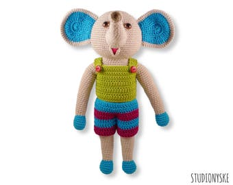 Crochet toy animal, stuffed elephant DAD, amigurumi PATTERN pdf