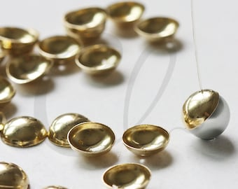30 Pieces Raw Brass Bead Cap with Side Hole - 12mm (3337C-L-137)