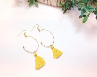 tassel earrings, yellow earrings, hoop earrings, minitassel earrings, fringe earrings,