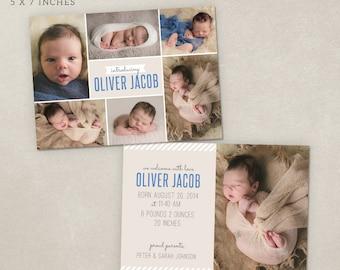 Birth Announcement Template Photo - Modern Collage CB009 - PSD Flat Card