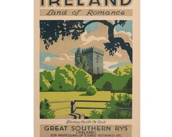 Ireland - Land of Romance Canvas Irish Travel Poster Giclee Art Print Gallery Wrapped