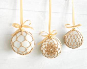 Set of 3 Christmas Ornaments- Modern Farmhouse Decor- Beige Gold Lace Ornament- White Lace Ornament- Crochet Christmas Ornament- Holiday