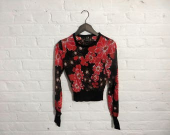 1970s vintage flower print fitted sweater - Small Size - UK 8 EU 36 US 6 - Seventies Mod Retro Boho