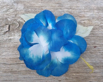 Vintage  1970/1980 French silk millinery blue flower brooch /corsage
