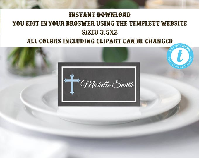 First Communion Place Cards, Baptism Place Cards, Instant Download, YOU EDIT, Dedication Place Cards, Christening Place Cards, Food Tents