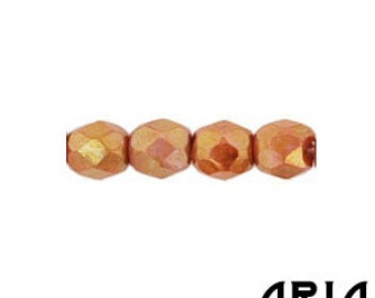 OPAQUE ROSE GOLD Topaz Luster: 4mm Faceted Round Firepolish Czech Glass Beads (50 beads per strand)