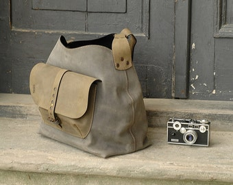 handmade purse bag crossbody leather bag grey and khaki woman bag ladybuq