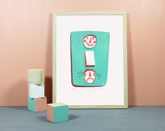 Happy Switch | Linoprint, original, linocut print, relief print, poster, scandinavian style, happy, sad, faces, feelings, mint, red, A3