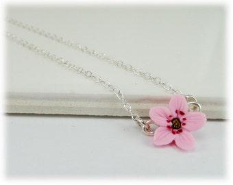 Tiny Cherry Blossom Necklace - Cherry Blossom Jewelry, Sakura Jewelry