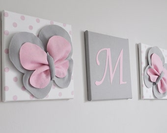 Baby Girl Nursery Butterfly Letter Art, Personalized Kid Wall Art, Baby Girl Pink Butterflies, Toddler Gift, Ready to Frame Wall Canvas