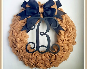 Summer Wreath-Halloween Wreath-Wreath For Front Door-Black Burlap Wreath-Rustic Wreath-Burlap Wreath-Everyday Wreath-Monogrammed Wreath
