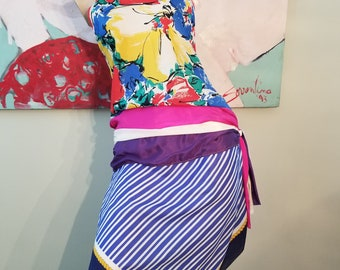 FREE  SHIPPING   1960  Abstract  Mod  Silk  Dress