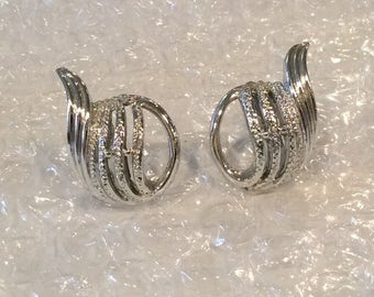 "Vintage signed ""Coro "" Silvertone Swirl design screw back earrings, Designer earrings, 1960s, Textured and polished"