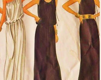 RARE Vogue Basic Design Pattern 2950 One Shoulder or Cold Shoulder Grecian Goddess Maxi Dress Sz 6-10 Uncut FF Couture Sewing Patterns