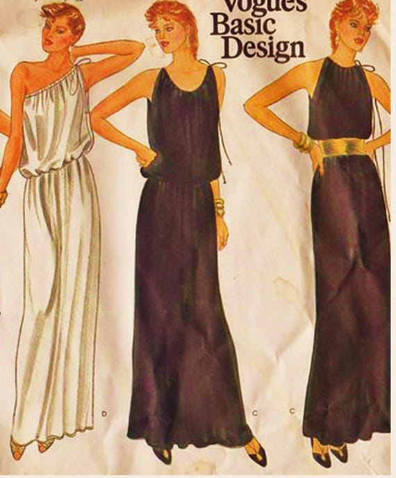 RARE Vogue Basic Design Pattern 2950 One Shoulder or Cold Shoulder ...