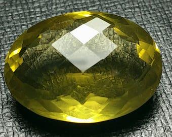 33ct 26mm Lemon Citrine VIDEO link also called Gold Green Citrine or Lemon Quartz 26.25 by 19 by 10mm