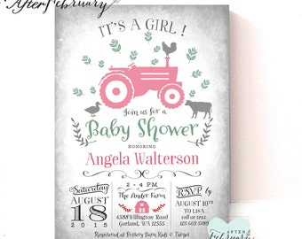 Pink Tractor Baby Shower Invitation Girl Farm Baby Shower Invitation Baby Girl Shower Invitation Printable OR Printed No.783BABY