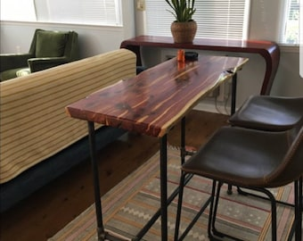 Live edge Red Cedar Bar table with metal black pipe legs