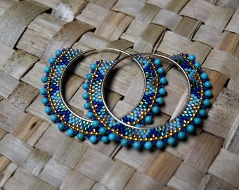 Hoop earrings with gold filled Turquoise from Arizona and 4cm in diameter