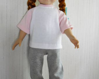 """18"""" Doll Clothes Pink and Gray Jogging Set for American Girl Type 18"""" Dolls"""