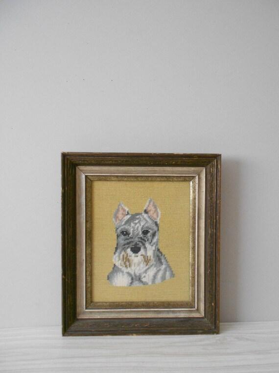 schnauzer scottie dog yorkie crewel embroidery framed picture / cross stitch / needlepoint / dog lover