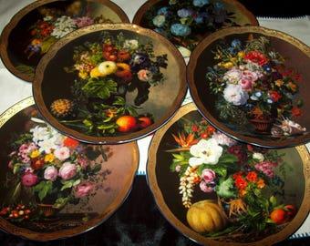 A set of 6 Bradex collectors plates floral.